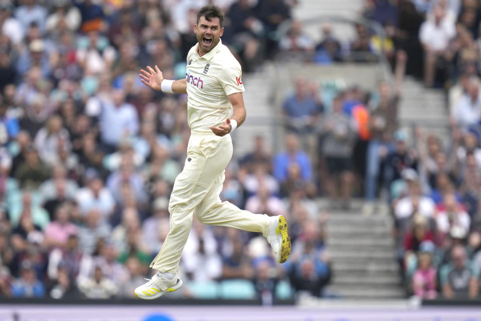 England's James Anderson celebrates taking the wicket of India's KL Rahul on day three of the fourth Test match at The Oval cricket ground in London, Saturday, Sept. 4, 2021. (AP Photo/Kirsty Wigglesworth)