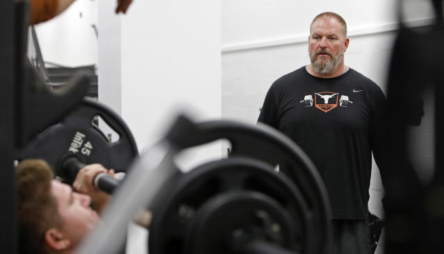 Texas Longhorns head strength and conditioning coach for football Yancy McKnight watches players workout Wednesday Sept. 4, 2019 in Austin, Tx. ( Photo by Edward A. Ornelas )