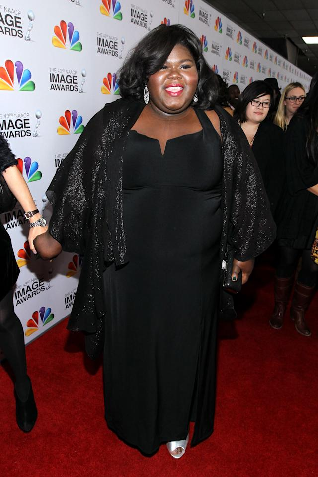 LOS ANGELES, CA - FEBRUARY 17:  Actress Gabourey Sidibe arrives at the 43rd NAACP Image Awards held at The Shrine Auditorium on February 17, 2012 in Los Angeles, California.  (Photo by Mark Davis/Getty Images for NAACP Image Awards)