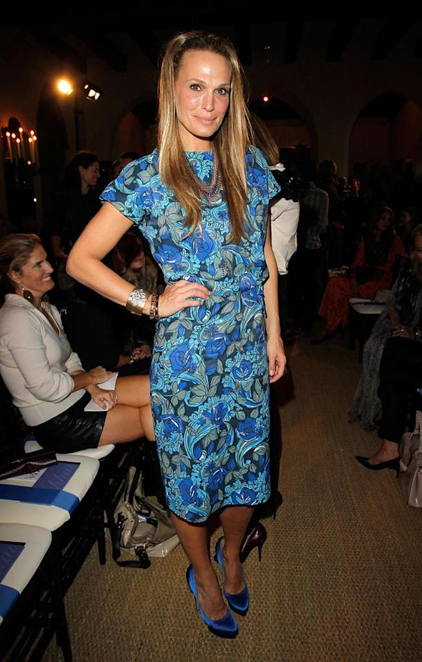 "Former ""Las Vegas"" cutie Molly Sims stood out in a bold blue floral frock. Do you think her look is hot ... or not? Donato Sardella/<a href=""http://www.wireimage.com"" target=""new"">WireImage.com</a> - October 19, 2010"