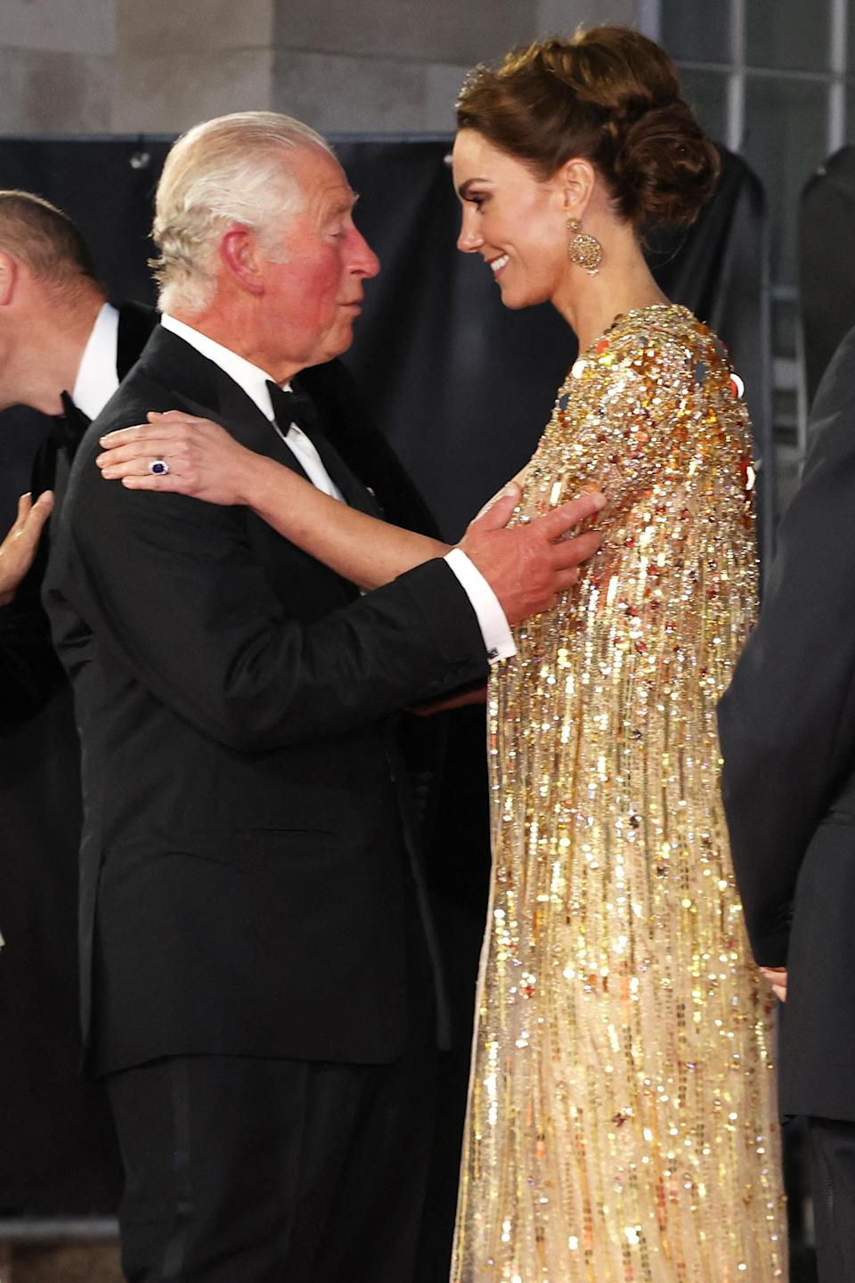 <p>Outside, Kate shared a sweet moment with her father-in-law, who later placed a kiss on her cheek.</p>