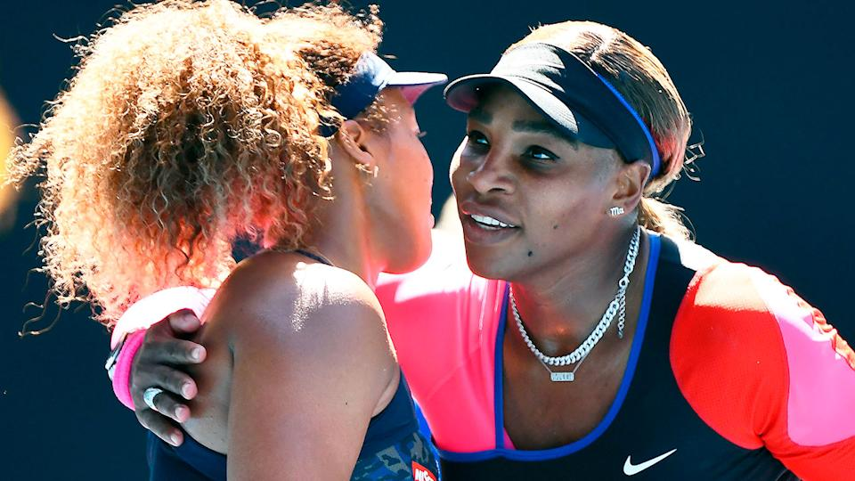 Serena Williams' chances of claiming a record-equalling 24th grand slam title have been boosted by Naomi Osaka's withdrawal. Pic: Getty