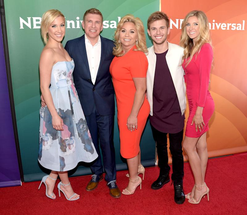WESTLAKE VILLAGE, CALIFORNIA - APRIL 01: (L-R) TV personality Savannah Chrisley, producer/TV personality Todd Chrisley and TV personalities Julie Chrisley, Chase Chrisley and Lindsie Chrisley attend the 2016 NBCUniversal Summer Press Day at Four Seasons Hotel Westlake Village on April 1, 2016 in Westlake Village, California. (Photo by Jason Kempin/Getty Images)