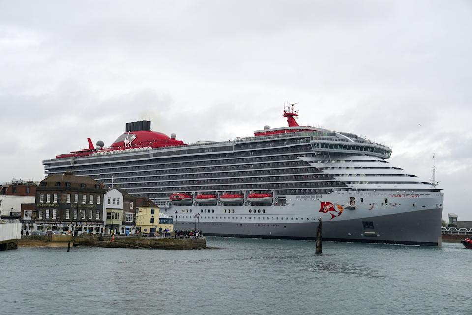 Virgin Voyage's luxury cruise ship Scarlet Lady arrives into Portsmouth for the first time. The 110,000-tonne liner is the largest ship to have ever docked in the city, bigger than both of the Royal Navy's aircraft carriers. Picture date: Monday June 21, 2021. (Photo by Steve Parsons/PA Images via Getty Images)