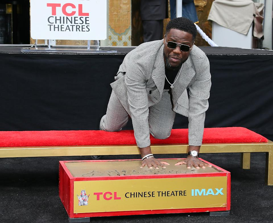 HOLLYWOOD, CALIFORNIA - DECEMBER 10: Kevin Hart is honored with a Hand and Footprint ceremony at the TCL Chinese Theatre IMAX on December 10, 2019 in Hollywood, California. (Photo by Jean Baptiste Lacroix/Getty Images)
