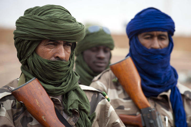 This picture provided by the French Army Communications Audiovisual office (ECPAD) and released Monday Jan. 28, 2013 shows Chadian soldiers securing Gao airport, north of Mali, Saturday, Jan. 26, 2013. French and Malian forces pushed toward the fabled desert town of Timbuktu on Sunday, as the two-week-long French mission gathered momentum against the Islamist extremists who have ruled the north for more than nine months. (AP Photo/Ghislain Mariette, EMA-ECPAD)
