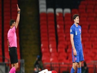 UEFA Nations League: Harry Maguire sent off on bad night for England, Kylian Mbappe gets France winner