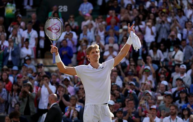 Kevin Anderson hails the crowd at Wimbledon after upsetting champion Roger Federer