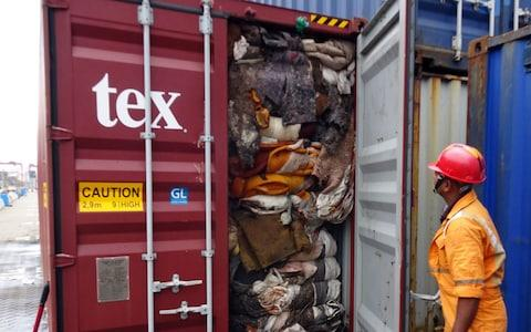 Sri Lanka customs on July 23 ordered the return of container loads of hazardous mortuary and clinical waste illegally imported from the UK - Credit: AFP