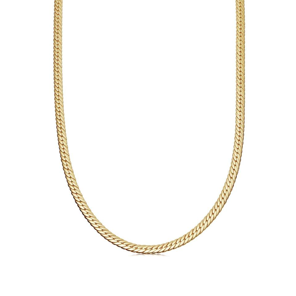 """<p><a class=""""link rapid-noclick-resp"""" href=""""https://go.redirectingat.com?id=127X1599956&url=https%3A%2F%2Fuk.missoma.com%2Fcollections%2Fnecklaces%2Fproducts%2Fgold-serpente-snake-chain-necklace%3Fcurrency%3DGBP%26country%3DGB%26redirected%3Dtrue&sref=https%3A%2F%2Fwww.harpersbazaar.com%2Fuk%2Ffashion%2Fjewellery-watches%2Fg35190301%2Fsex-and-the-citys-best-jewellery-moments%2F"""" rel=""""nofollow noopener"""" target=""""_blank"""" data-ylk=""""slk:SHOP NOW"""">SHOP NOW</a></p><p>Gold chain necklace, £198, <a href=""""https://go.redirectingat.com?id=127X1599956&url=https%3A%2F%2Fuk.missoma.com%2F&sref=https%3A%2F%2Fwww.harpersbazaar.com%2Fuk%2Ffashion%2Fjewellery-watches%2Fg35190301%2Fsex-and-the-citys-best-jewellery-moments%2F"""" rel=""""nofollow noopener"""" target=""""_blank"""" data-ylk=""""slk:Missoma"""" class=""""link rapid-noclick-resp"""">Missoma</a></p>"""