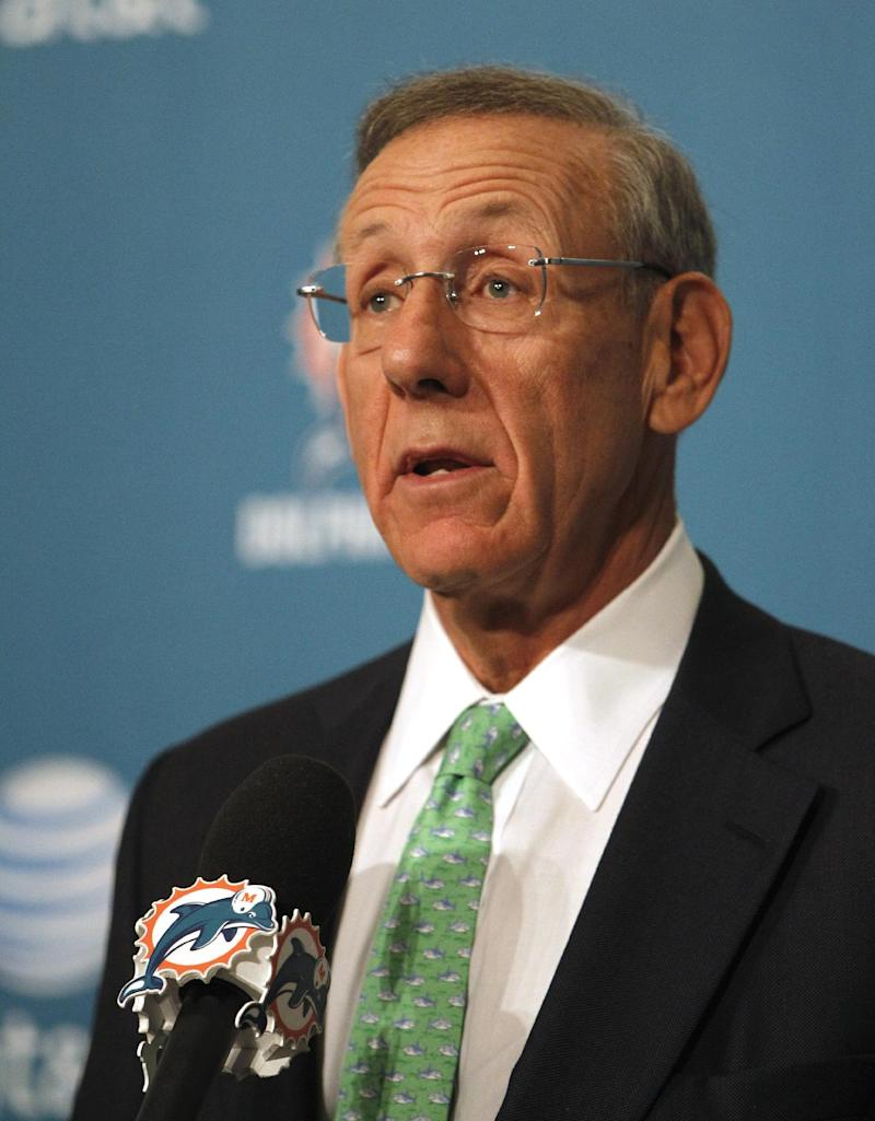FILE - In this Jan. 21, 2012, photo Miami Dolphins majority owner Stephen Ross speaks before introducing Joe Philbin as the head coach for the Miami Dolphins in Davie, Fla. A few weeks before the Republican primary in Florida in January, Ross, the billionaire owner of the Dolphins, hosted a fundraiser for Mitt Romney at his oceanfront home in Palm Beach. The average voter wouldn't know about the event at the home of Ross because Romney's campaign doesn't follow the practice of other major presidential candidates who have willingly identified big-money fundraisers and the amounts they collect.  (AP Photo/Lynne Sladky)