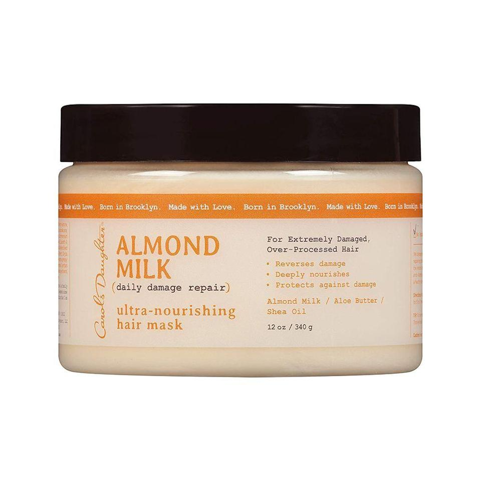 """<p><strong>Carol's Daughter</strong></p><p>target.com</p><p><strong>$11.99</strong></p><p><a href=""""https://www.target.com/p/carol-s-daughter-almond-milk-daily-damage-repair-ultra-nourishing-hair-mask-12-0-oz/-/A-50194685"""" rel=""""nofollow noopener"""" target=""""_blank"""" data-ylk=""""slk:Shop Now"""" class=""""link rapid-noclick-resp"""">Shop Now</a></p><p>Just like the name suggests this Carol's Daughter's hair mask repairs damaged hair with nourishing almond milk and aloe butter and shea oil. Formulated without parabens, this deep conditioner is perfect for all curl types from 4c coils to 1c waves.</p>"""