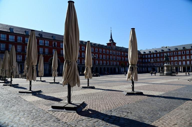 Public spaces such as the Plaza Mayor in central Madrid have already largely emptied