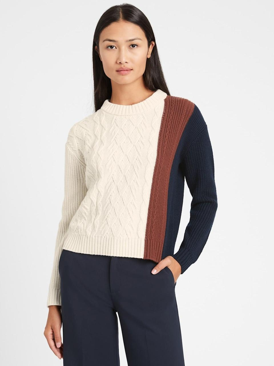 <p>I love the contrast of this <span>Cable-Knit Cropped Sweater</span> ($99, originally $110).</p>