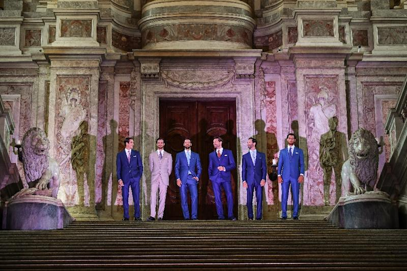 """Models wearing some of Ricci's latest creations pose for guests at """"Reggia di Caserta,"""" a UNESCO world heritage site and one of the great Royal Palaces of Europe (AFP Photo/Andreas SOLARO)"""