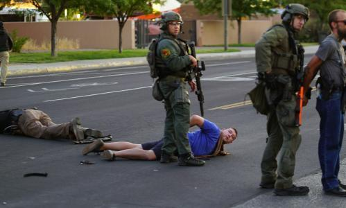 Armed vigilantes under scrutiny after statue protester shot in New Mexico