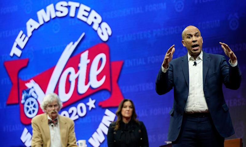 Cory Booker speaks at the Teamsters Vote 2020 Presidential Candidate Forum in Cedar Rapids, Iowa on Saturday.