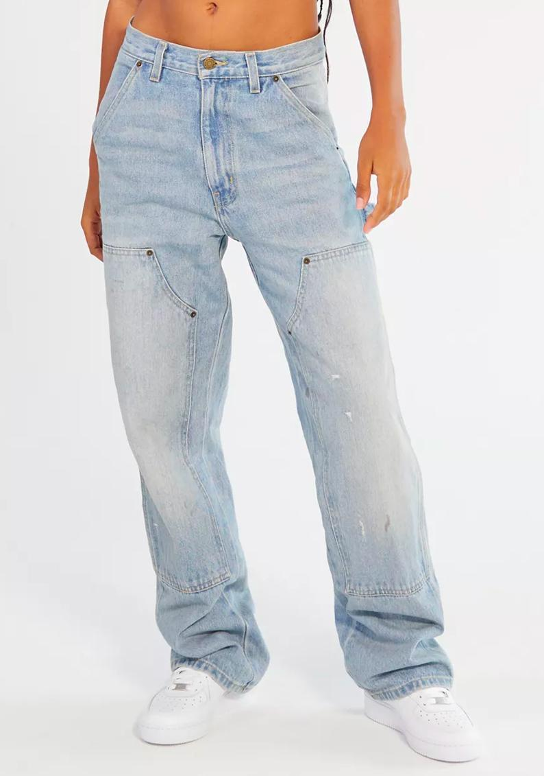 "We have a feeling TLC would approve of these high-waisted carpenter jeans with oversize pockets. <em>""Unpretty"" plays softly in background.</em> $69, Urban Outfitters. <a href=""https://www.urbanoutfitters.com/shop/bdg-high-waisted-carpenter-jean-medium-wash"" rel=""nofollow noopener"" target=""_blank"" data-ylk=""slk:Get it now!"" class=""link rapid-noclick-resp"">Get it now!</a>"
