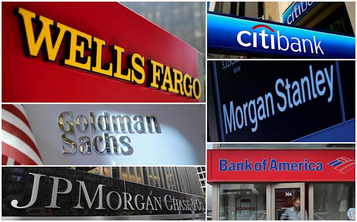 A combination file photo shows Wells Fargo, Citigbank, Morgan Stanley, JPMorgan Chase, Bank of America, JPMorgan, and Goldman Sachs from Reuters archive. REUTERS/File Photos