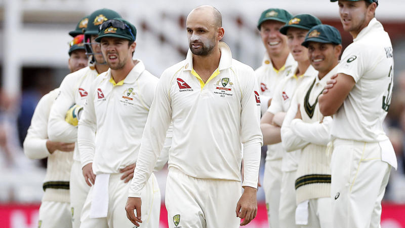 Nathan Lyon and the Aussies, pictured here awaiting the decision. (Photo by Ryan Pierse/Getty Images)