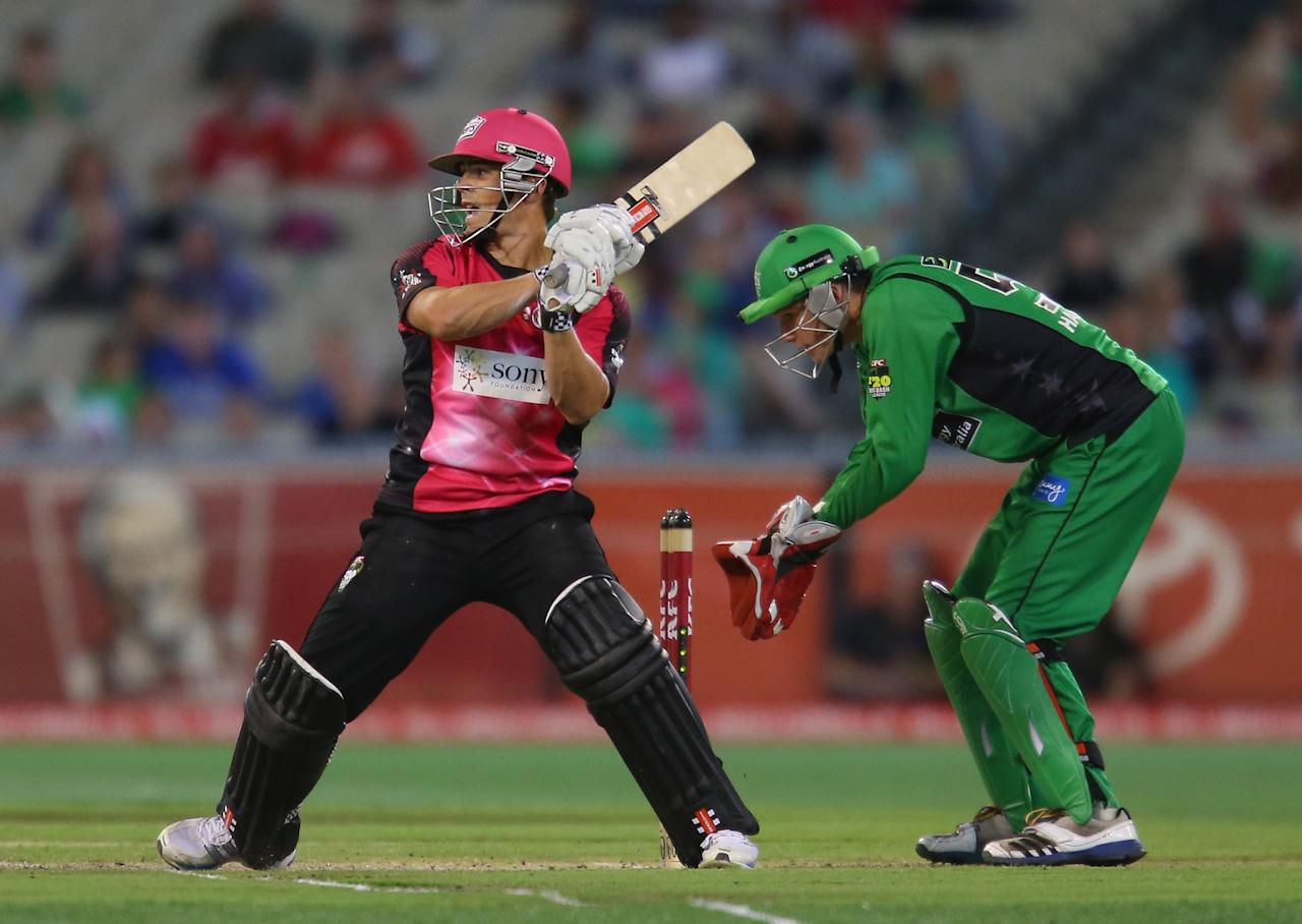MELBOURNE, AUSTRALIA - DECEMBER 21:  Steve O'Keefe of the Sixers bats during the Big Bash League match between the Melbourne Stars and the Sydney Sixers at Melbourne Cricket Ground on December 21, 2012 in Melbourne, Australia.  (Photo by Scott Barbour/Getty Images)