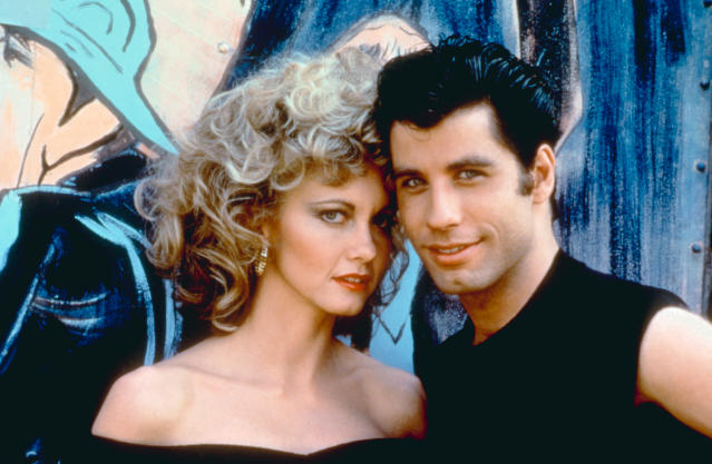 Olivia Newton-John and John Travolta on set. (Photo: Paramount Pictures/courtesy of the Everett Collection)
