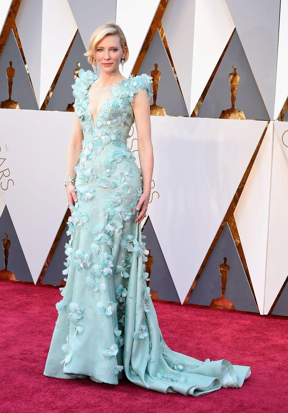 <p>Sure, Cate Banchett's Armani Prive gown might've been a little divisive, but we totally stan this gorge aqua hue, feathery details, and Swarovski crystals. It was clearly a winning look since she picked up the Best Actress Award for her work in <em>Carol</em>. </p>