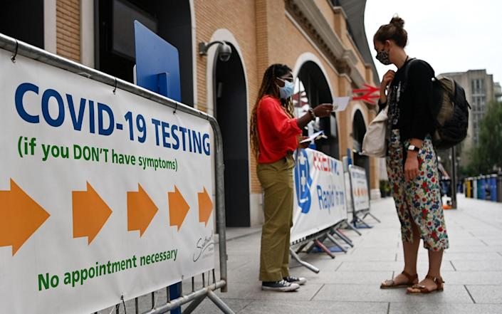 A Covid-19 test centre in London, as the Government expands contact testing centres for critical workers to skip self-isolation - ANDY RAIN/EPA-EFE/Shutterstock