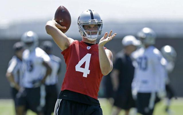 Derek Carr will remain with the Raiders after agreeing to an extension. (AP)
