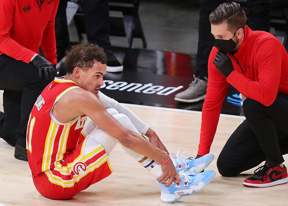 Hawks guard Trae Young missed Game 4 of the Eastern Conference finals after suffering an ankle injury in Game 3.