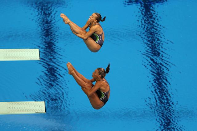 LONDON, ENGLAND - JULY 29: Tania Cagnotto (Bottom) Francesca Dallape of Italy compete in the Women's Synchronised 3m Springboard final on Day 2 of the London 2012 Olympic Games at the Aquatics Centre at Aquatics Centre on July 29, 2012 in London, England. (Photo by Clive Rose/Getty Images)