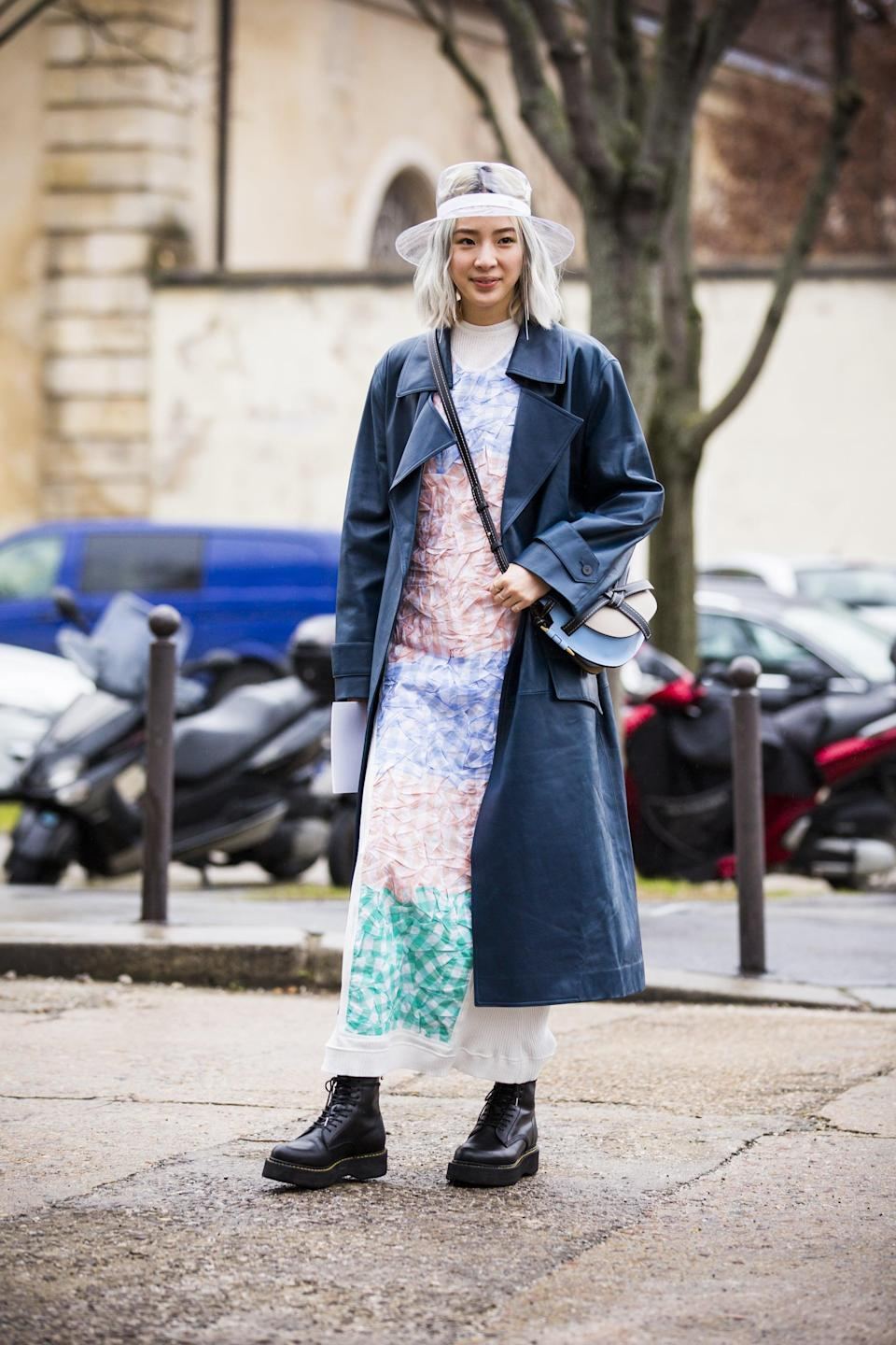 <p>Reinvent your favorite long printed dress with a trench and chunky lace up boot.</p>