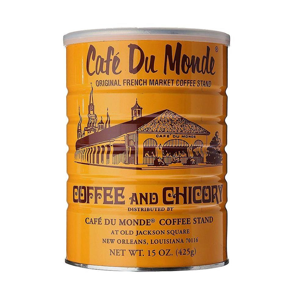 """<p><strong>Cafe Du Monde</strong></p><p>amazon.com</p><p><strong>$8.69</strong></p><p><a href=""""https://www.amazon.com/dp/B0000E5JIU?tag=syn-yahoo-20&ascsubtag=%5Bartid%7C10070.g.35058456%5Bsrc%7Cyahoo-us"""" rel=""""nofollow noopener"""" target=""""_blank"""" data-ylk=""""slk:Shop Now"""" class=""""link rapid-noclick-resp"""">Shop Now</a></p><p>When you get to the bottom of the coffee canister, you can use the older grounds for adding to plant soil and then keep the canister and use it to organize other things. </p>"""