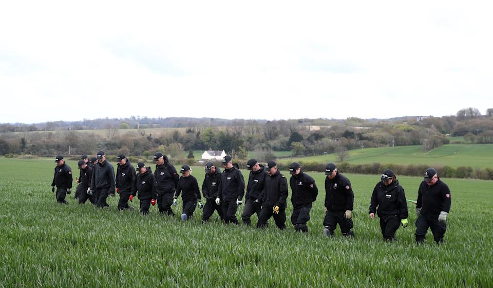 Police officers continue their search of fields close to the hamlet of Snowdown, near Aylesham, East Kent, where the body of PCSO Julia James was discovered on Tuesday April 27. Kent Police launched a murder enquiry following the discovery of the 53-year-old community support officer's body. Picture date: Monday May 3, 2021. (Photo by Gareth Fuller/PA Images via Getty Images)