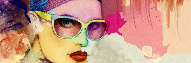 illustration of a woman looking straight-faced ahead with glasses, red lipstick, and colorful backgrounds