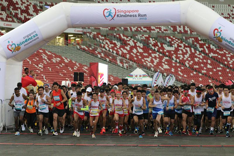 Participants at the 10km race of the Singapore Kindness Run 2019 at the National Stadium. (PHOTO: Runners' Heart-Reach)