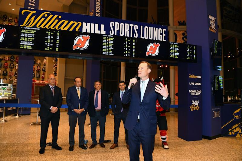 Harris Blitzer Sports & Entertainment President Hugh Weber speaks at William Hill Sports Lounge opening at Prudential Center on December 14, 2018 in Newark, New Jersey.   Dave Kotinsky—Getty Images for William Hill