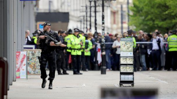 PHOTO: Crowds of people wait outside after police evacuated the Arndale Centre, May 23, 2017, in Manchester, England. (Christopher Furlong/Getty Images)