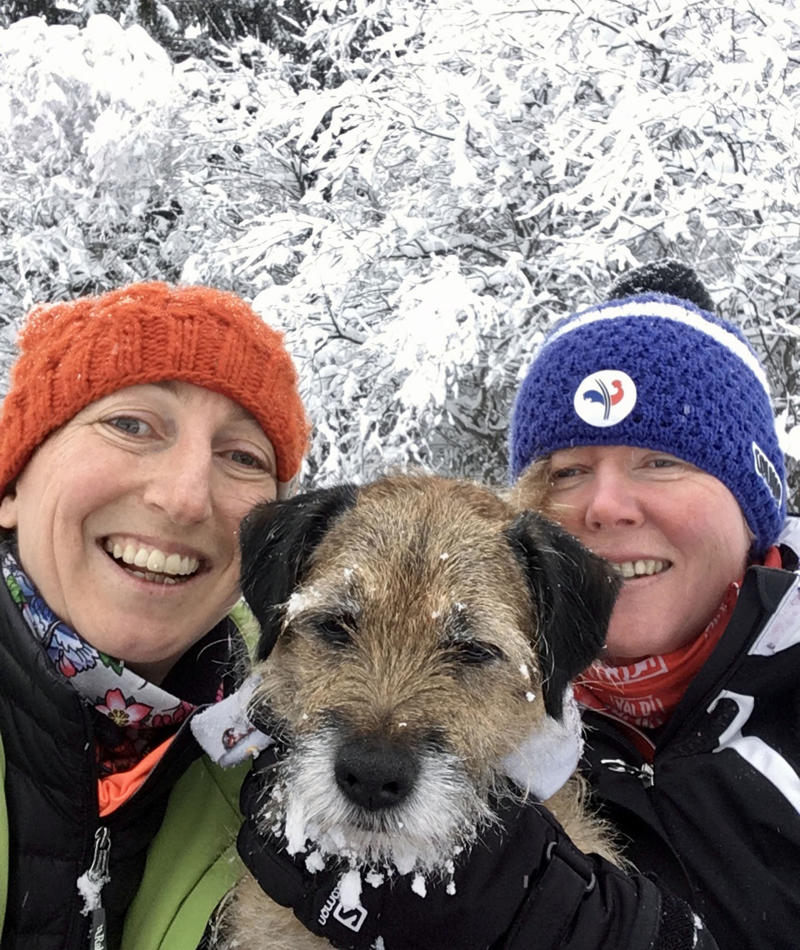 Pete the border terrier with his owners, Jo Partington and Natasha Cooper in the French Alps. (Photo: Caters News)