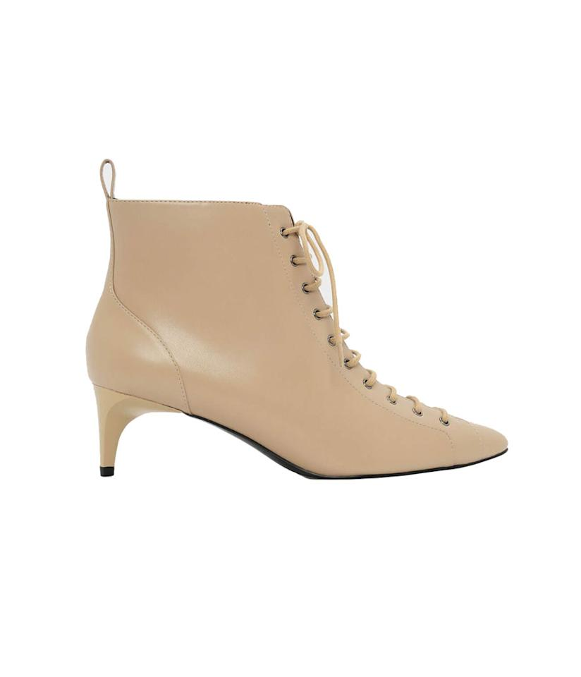 "<p>Charles & Keith is a brand best known for its affordable handbags, but don't overlook its shoe selection. These pretty lace-up kitten heels are right on trend.<br /><a rel=""nofollow"" href=""https://fave.co/2qvodSp"">Shop it:</a> Kitten Heel Lace Up Boots, $69, <a rel=""nofollow"" href=""https://fave.co/2qvodSp"">charleskeith.com</a> </p>"