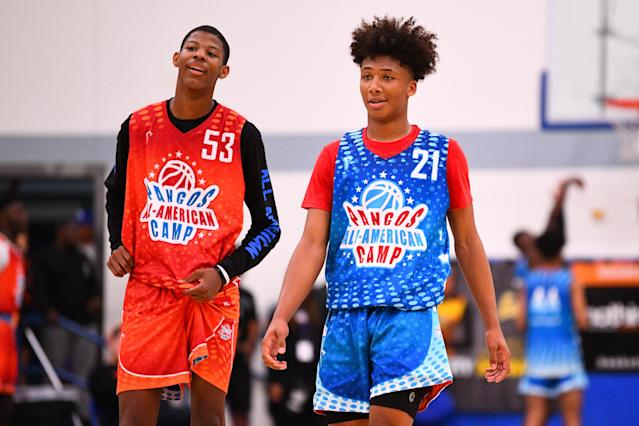 Dalen Terry (53) from Hillcrest Prep and Mikey Williams (21) look on during the Pangos All-American Camp on June 2, 2019. (Brian Rothmuller/Icon Sportswire via Getty Images)