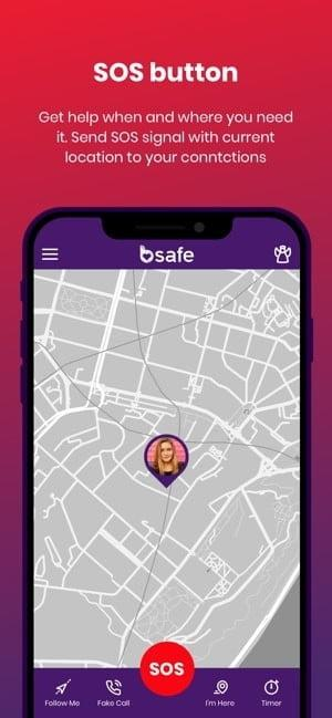 Screenshot of the bSafe app explaining the SOS Button feature, with a picture of a map showing the user's location