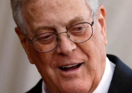 """FILE PHOTO: Businessman David Koch arrives at the Metropolitan Museum of Art Costume Institute Gala 2015 celebrating the opening of """"China: Through the Looking Glass,"""" in Manhattan"""
