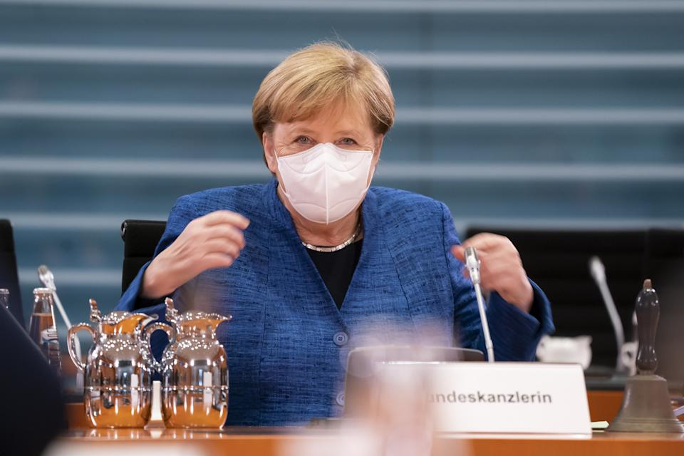 German chancellor Angela Merkel at weekly cabinet meeting in Berlin, Germany, on 21 October. Photo: Henning Schacht/Getty Images
