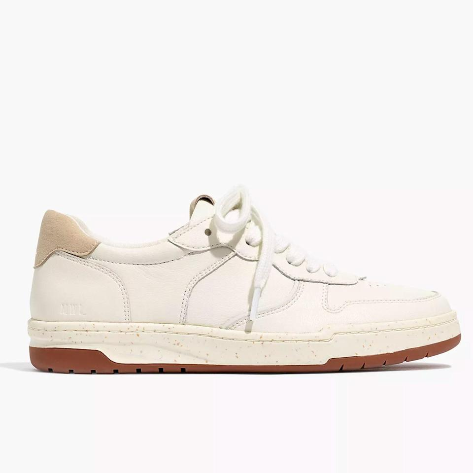 """Madewell's best-selling Court Sneakers were designed to go with everything, and take inspiration from both tennis and dad shoes. They're also made as eco-friendly as possible, reclaimed from what would otherwise have been waste; the rubber sole is made up of more than 94% recycled materials, and the leather upper is sourced from a gold-certified tannery. Plus, any leftover carbon emissions from the production process are offset, so you can actually feel good about your purchase. $98, Madewell. <a href=""""https://www.madewell.com/court-sneakers-in-white-leather-MC696.html?"""" rel=""""nofollow noopener"""" target=""""_blank"""" data-ylk=""""slk:Get it now!"""" class=""""link rapid-noclick-resp"""">Get it now!</a>"""