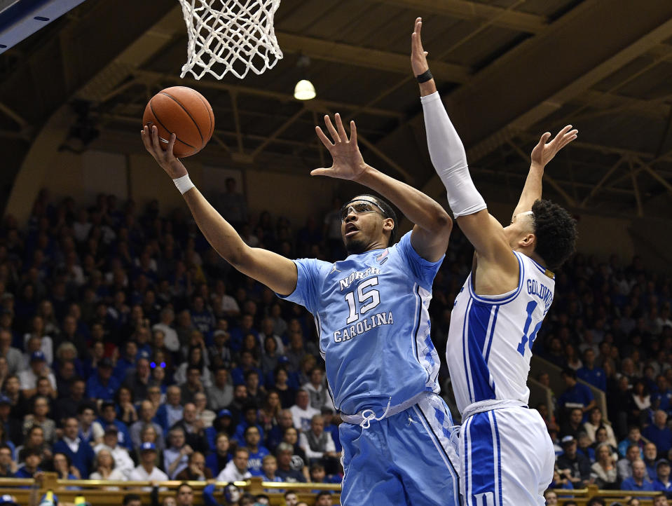DURHAM, NORTH CAROLINA - MARCH 07: Garrison Brooks #15 of the North Carolina Tar Heels drives against Jordan Goldwire #14 of the Duke Blue Devils during the first half of their game at Cameron Indoor Stadium on March 07, 2020 in Durham, North Carolina. (Photo by Grant Halverson/Getty Images)