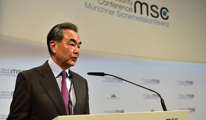 "Foreign Minister Wang Yi said at the Munich Security Conference on Saturday that ""accusations against China are lies"". Photo: Xinhua"