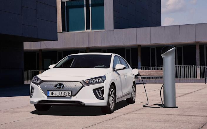 The Hyundai Ioniq is a teardrop-shaped electric vehicle with sad eyes that look like they're crying LED tears. It was just freshened and updated with a new, bigger battery that increases its range by 35 percent, up to 170 miles. It's a great choice for first-time EV buyers.