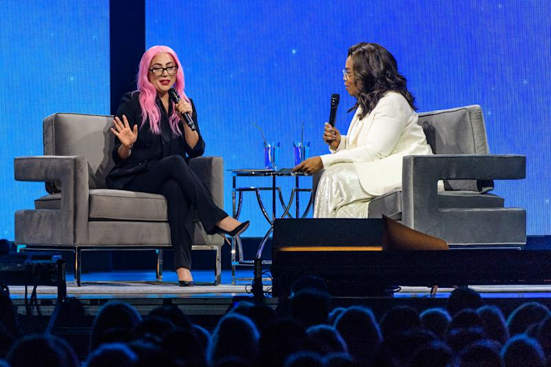 Lady Gaga and Oprah Winfrey speak during the WW (Weight Watchers Reimagined) & Oprah's 2020 Vision: Your Life In Focus Tour at BB&T Center on January 4, 2020 in Sunrise, Florida.