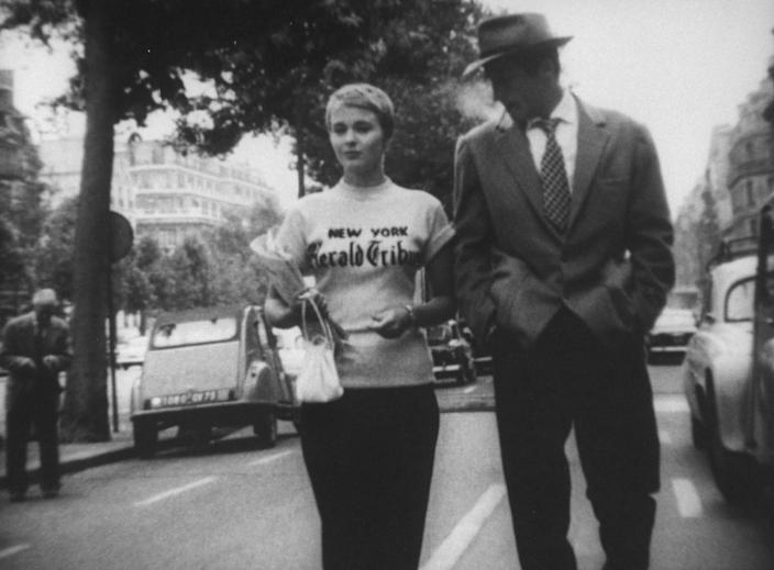 """<h1 class=""""title"""">Jean-Paul Belmondo;Jean Seberg</h1> <div class=""""caption""""> Considered part of the French New Wave, <em>Breathless</em> was the first feature-length film from director Jean-Luc Godard. </div> <cite class=""""credit"""">Photo: Walter Daran/The LIFE Picture Collection via Getty Images</cite>"""